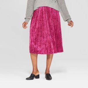 Women's Pink crushed velvet midi skirt